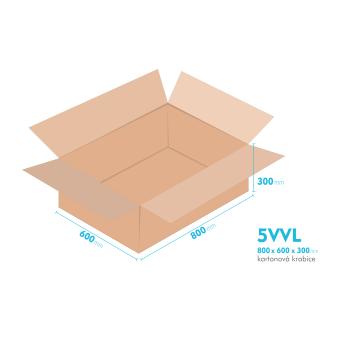 Kartónová krabica 5VVL - 800x600x300mm - vnútorné 794x594x288mm