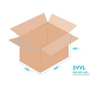 Kartónová krabica 5VVL - 800x600x600mm - vnútorné 794x594x588mm