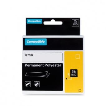 Kompatibilná páska s DYMO 18483, 12mm, čierna tlač na bielom podklade, permanentná polyesterová