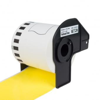 Kompatibilné etikety s Brother DK-22606, žltá filmová rola, 62mm x 15,24m