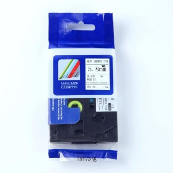 Kompatibilná páska s Brother HSE-211, 5,8mm, čierna tlač na bielom podklade, zmršťovacia bužírka