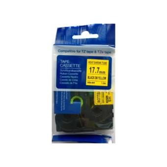 Kompatibilná páska s Brother HSE-641, 17,7mm, čierna tlač na žltom podklade, zmršťovacia bužírka