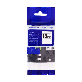 Kompatibilná páska s Brother TZE-S141, 18mm, extrémne priľnavá, čierna tlač na priesvitnom podklade