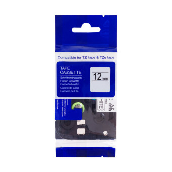 Kompatibilná páska s Brother TZE-S231, 12mm, extrémne priľnavá, čierna tlač na bielom podklade