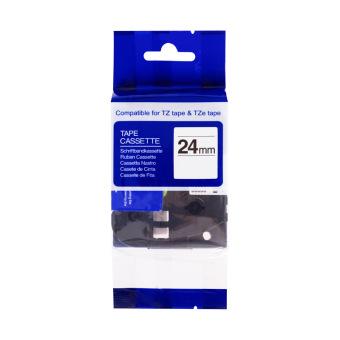 Kompatibilná páska s Brother TZE-SE5R, 24mm, plombovacia laminovaná páska, čierna tlač na červenom podklade