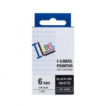 Kompatibilná páska s Casio XR-6WE1, 6mm, čierna tlač na bielom podklade