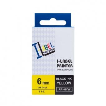 Kompatibilná páska s Casio XR-6YW1, 6mm, čierna tlač na žltom podklade