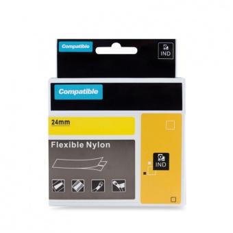 Kompatibilná páska s DYMO 1734525 (S0773850), 24mm, čierna tlač na žltom podklade, nylonová flexibilná