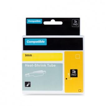 Kompatibilná páska s DYMO 18054 (S0718290), 9mm, čierna tlač na žltom podklade, plochá zmršťovacia bužírka