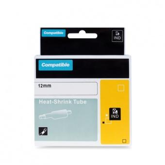 Kompatibilná páska s DYMO 18055 (S0718300), 12mm, čierna tlač na bielom podklade, plochá zmršťovacia bužírka