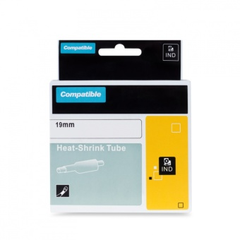 Kompatibilná páska s DYMO 18057 (S0718330), 19mm, čierna tlač na bielom podklade, plochá zmršťovacia bužírka