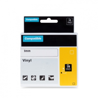 Kompatibilná páska s DYMO 18443 (S0718580), 9mm, čierna tlač na bielom podklade, vinylová
