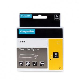 Kompatibilná páska s DYMO 18488, 12mm, čierna tlač na bielom podklade, nylonová flexibilná