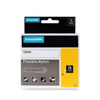 Kompatibilná páska s DYMO 18490, 12mm, čierna tlač na žltom podklade, nylonová flexibilná