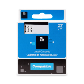 Kompatibilná páska s DYMO 40910 (S0720670), 9mm, čierna tlač na priesvitnom podklade