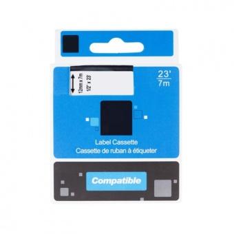 Kompatibilná páska s DYMO 45022 (S072062), 12mm, čierna tlač na striebornom podklade