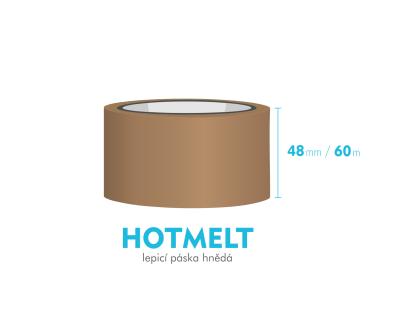 Lepiaca páska, hnedá - HOTMELT - 48mm x 60m