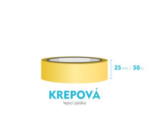 Lepiaca páska krepová - 25mm x 50m