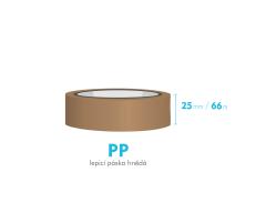 Lepiaca páska - 25mm x 66m - hnedá