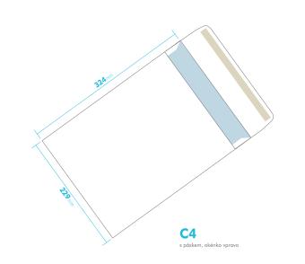 Listové obálka - C4 s pásikom - okienko vpravo