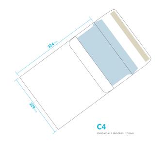 Listová obálka - C4 samolepiace - okienko vpravo