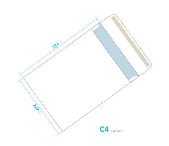 Listové obálka - C4 s pásikom