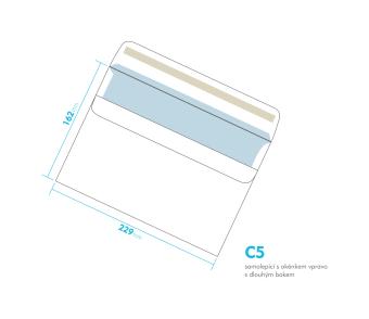 Listová obálka - C5 samolepiace - okienko vpravo, dlhý bok