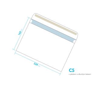 Listové obálka - C5 s pásikom - s dlhým bokom