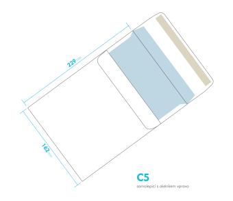 Listová obálka - C5 samolepiace - okienko vpravo