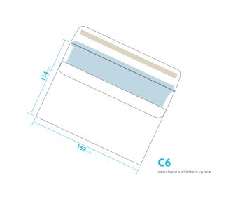 Listová obálka - C6 samolepiace - okienko vpravo