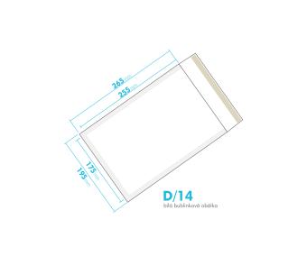Biela bublinková obálka D/14 vnútorný rozmer 175x255 mm