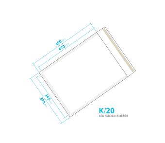 Biela bublinková obálka K/20 vnútorný rozmer 345x470 mm