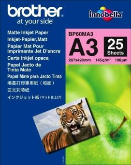 Fotopapier A3 Brother Photo Matt, 25 listov, 145 g/m2, matný, bielý, inkoustový (BP60MA3)