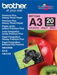 Fotopapier A3 Brother Glossy Photo, 20 listov, 260 g/m2, lesklý, bílý, inkoustový (BP71GA3)