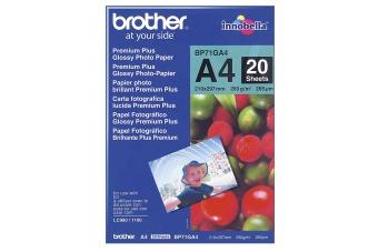 Fotopapier A4 Brother Glossy photo, 20 listov, 260 g/m2, lesklý, bielý, inkoustový (BP71GA4)