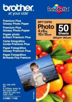 Fotopapier 10x15cm Brother Premium Glossy photo, 50 listov, 260 g/m2, lesklý, bielý, inkoustový (BP71GP50)