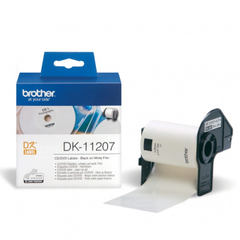 Originálne etikety Brother DK-11207, papierové biele, CD/DVD, priemer 58mm, 100ks
