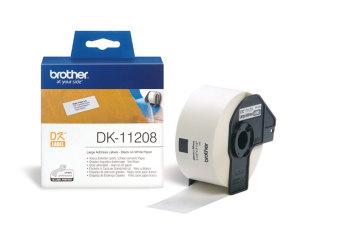Originálne etikety Brother DK-11208, papierové biele, široké adresy, 38 x 90mm, 400ks