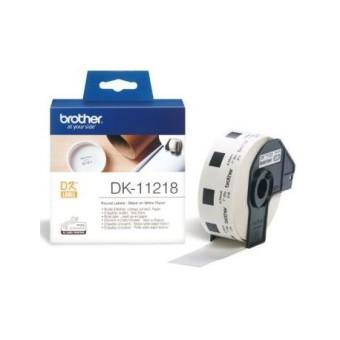 Originálne etikety Brother DK-11218, papierové biele, okrúhle, priemer 24mm, 1000ks