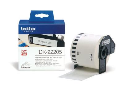 Originálne etikety Brother DK-22205, papierová rola 62mm x 30,48m