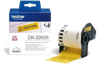 Originálne etikety Brother DK-22606, žltá filmová rola, 62mm x 15,24m