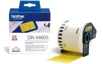 Originálne etikety Brother DK-44605, žltá papierová rola s odstrániteľným lepidlom, 62mm x 30,48m