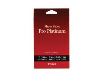 Fotopapier 10x15cm Canon Pre Platinum, 50 listov, 300 g/m2, lesklý, biely, inkoustový (PT-101)
