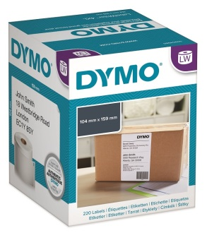 Originálné etikety DYMO S0904980, extra veľké štítky na balíky, 10cm x 15cm, čierna tlač na bielom podklade, 220ks
