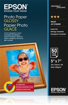 Fotopapier 13x18cm Epson Glossy, 50 listů, 200 g/m2, lesklý, bielý, inkoustový (C13S042545)