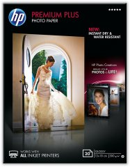 Fotopapier 13x18cm HP Premium Plus Glossy, 20 listov, 300 g/m2, lesklý, biely, inkoustový, bez okraja (CR676A)