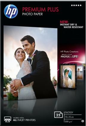 Fotopapier 10x15cm HP Premium Plus Glossy, 25 listov, 300 g/m2, lesklý, biely, inkoustový, bez okraja (CR677A)