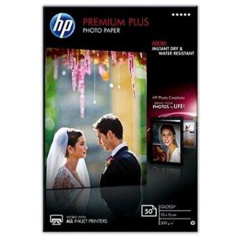 Fotopapier 10x15cm HP Premium Plus Glossy, 50 listov, 300 g/m2, lesklý, biely, inkoustový, (CR695A)