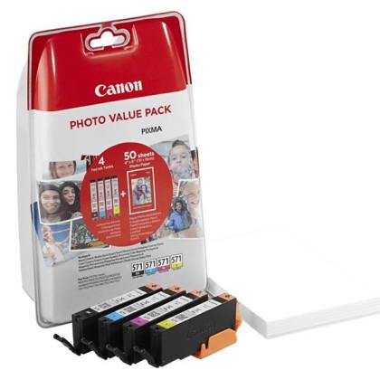 Sada originálných cartridge Canon CLI-571 (0386C006) (Čierna a farebné) + fotopapier