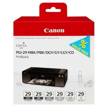 Sada originálných cartridge Canon PGI-29 MBK/PBK/DGY/GY/LGY/CO